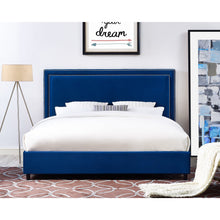 TOV Furniture Modern Reed Navy Velvet Bed in King TOV-B36-Minimal & Modern
