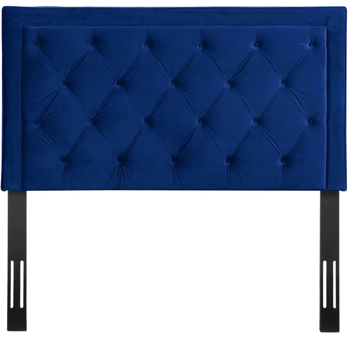 TOV Furniture Modern Nacht Full Headboard in Navy Velvet - TOV-B58-F-Minimal & Modern