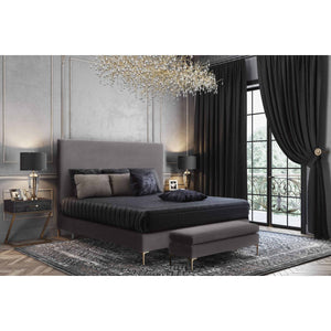 TOV Furniture Modern Delilah Grey Velvet Bed in Queen TOV-B6268