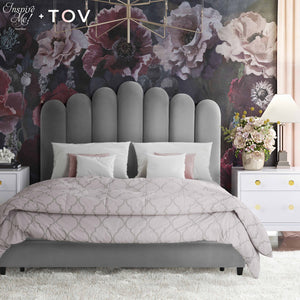 TOV Furniture X Inspire Me Celine Grey Velvet Bed in King TOV-B6313