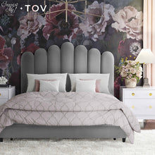 TOV Furniture X Inspire Me Celine Grey Velvet Bed in Queen TOV-B6312