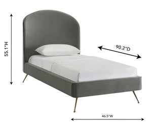TOV Furniture Modern Vivi Grey Velvet Bed in Twin TOV-B6344