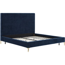 TOV Furniture Modern Delilah Navy Textured Velvet Bed in Full - TOV-B101-Minimal & Modern