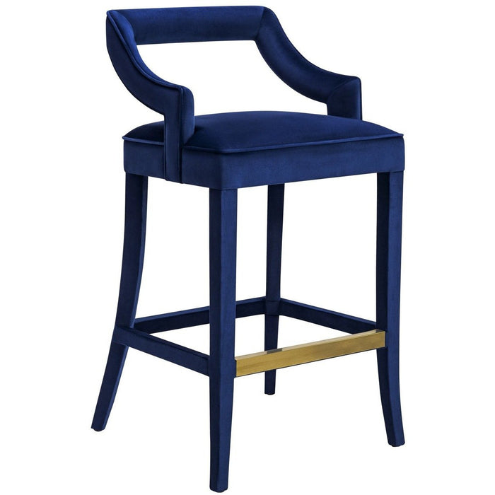 TOV Furniture Modern Tiffany Navy Velvet Bar Stool - TOV-BS21-Minimal & Modern