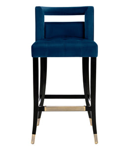 TOV Furniture Modern Hart Navy Velvet Bar Stool - TOV-BS23-Minimal & Modern