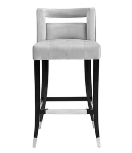 TOV Furniture Modern Hart Grey Velvet Bar Stool - TOV-BS25-Minimal & Modern