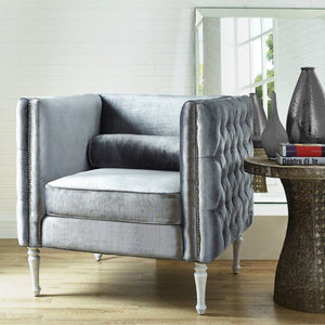 TOV Furniture Modern Bryn Grey Velvet Chair TOV-C46-Minimal & Modern