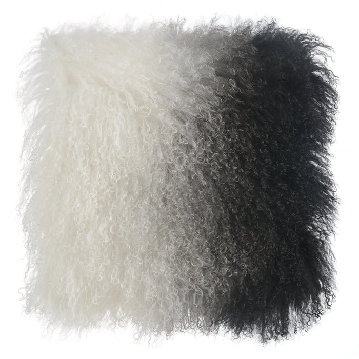 TOV Furniture Modern Tibetan Sheep Pillow White to Black - TOV-C5700-Minimal & Modern