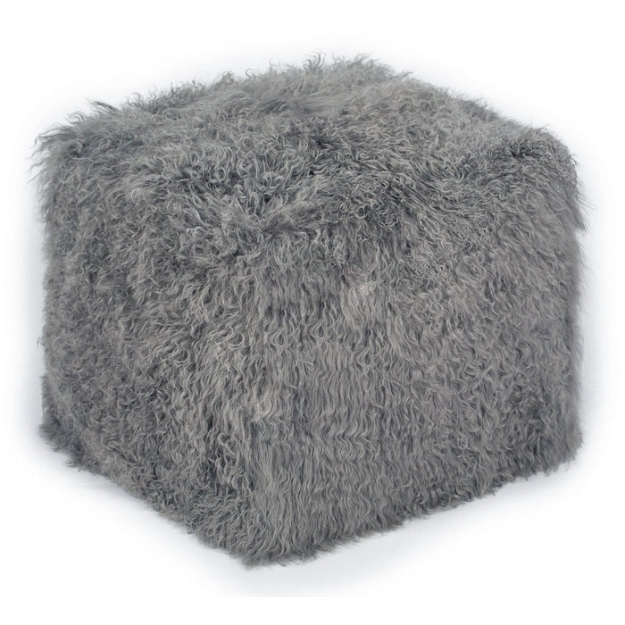 TOV Furniture Modern Tibetan Sheep Grey Pouf - TOV-C5710-Minimal & Modern