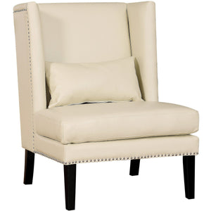 TOV Furniture Modern Chelsea Cream Leather Wing Chair TOV-CHE-CBL-Minimal & Modern
