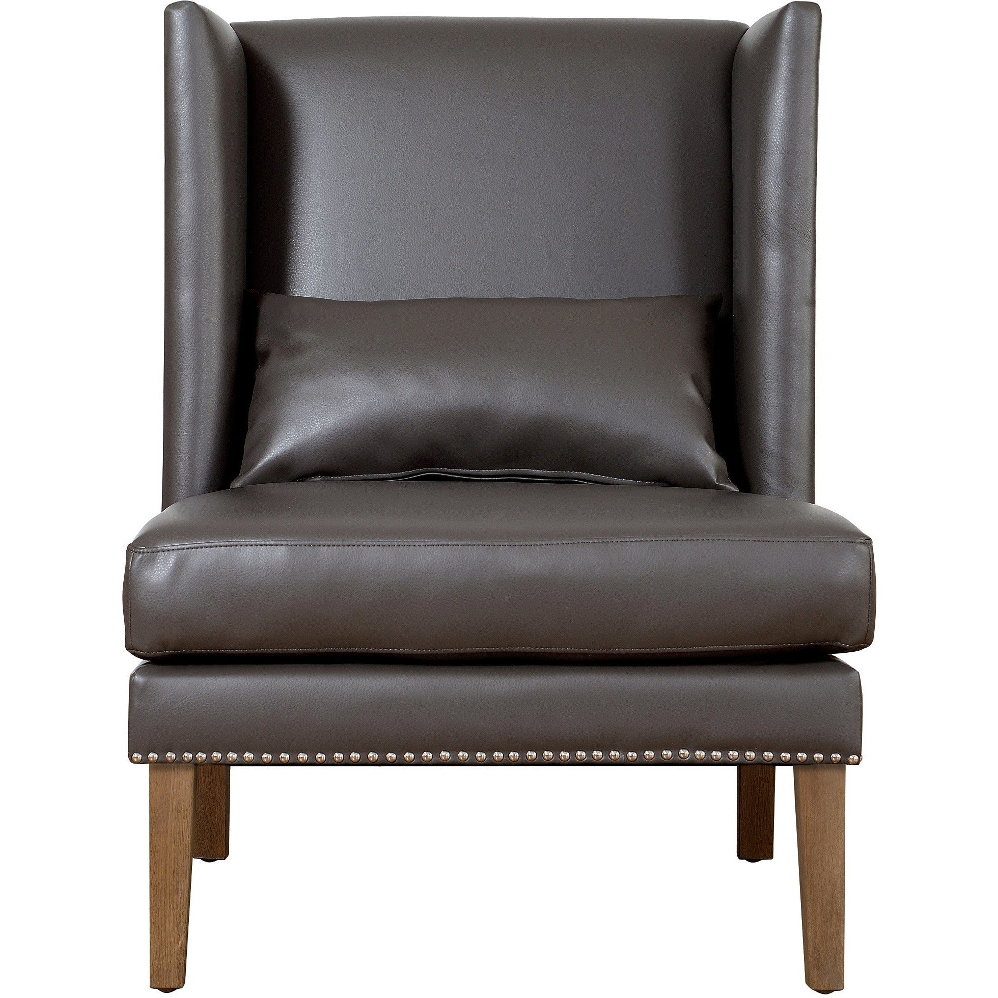 tov furniture modern chelsea grey leather wing chair tov che gbl