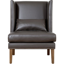 TOV Furniture Modern Chelsea Grey Leather Wing Chair TOV-CHE-GBL-Minimal & Modern