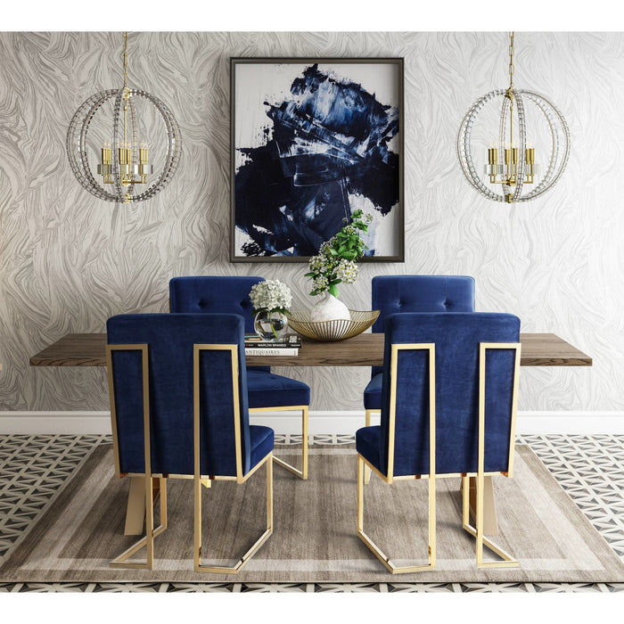 TOV Furniture Modern Leah Dining Table & 4 Akiko Navy Chairs - Set-Minimal & Modern