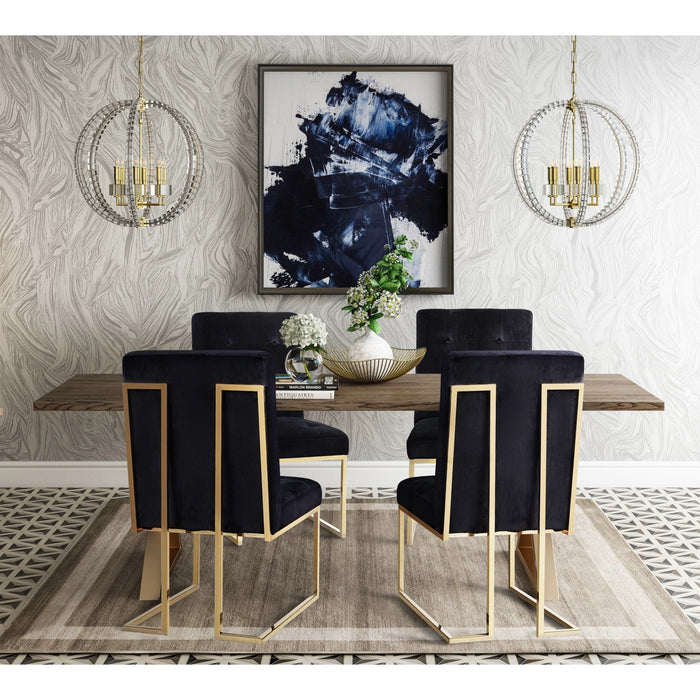 TOV Furniture Modern Leah Dining Table & 4 Akiko Black Chairs - Set-Minimal & Modern