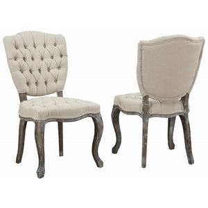 TOV Furniture Modern Amelia Beige Linen Weathered Oak Dining Chair (Set of 2 ) TOV-D31-Minimal & Modern