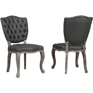 TOV Furniture Modern Amelia Grey Leather Weathered Oak Dining Chair (Set of 2) TOV-D32-Minimal & Modern