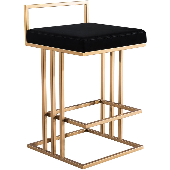TOV Furniture Trevi Velvet & Gold Black Counter Stool TOV-D4115-Minimal & Modern