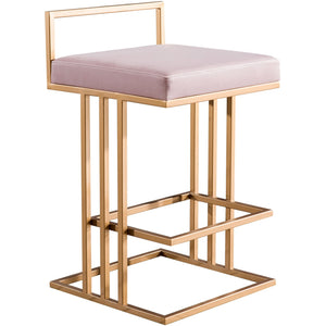 TOV Furniture Trevi Velvet & Gold Blush Pink Counter Stool TOV-D4117-Minimal & Modern