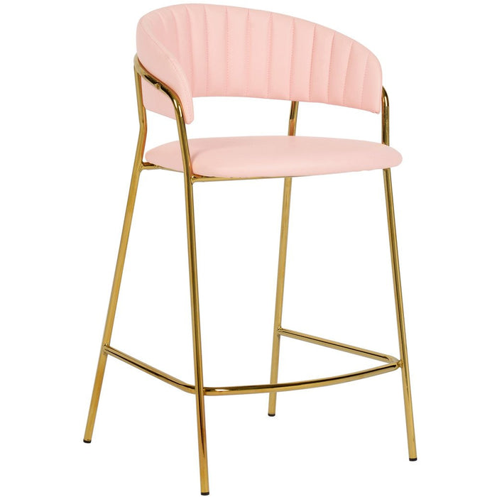 TOV Furniture Modern Padma Blush Pink Vegan Leather Counter Stool - Set of 2 TOV-D4316