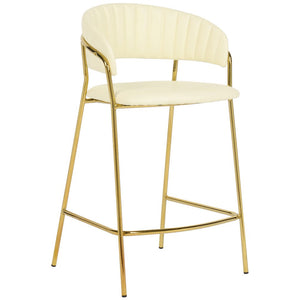 TOV Furniture Modern Padma Cream Vegan Leather Counter Stool - Set of 2 TOV-D4317