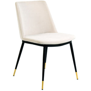 TOV Furniture Modern Evora Cream Velvet - Gold Legs - Set of 2 TOV-D4327