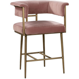 TOV Furniture Modern Astrid Blush Pink Velvet Counter Stool TOV-D44026