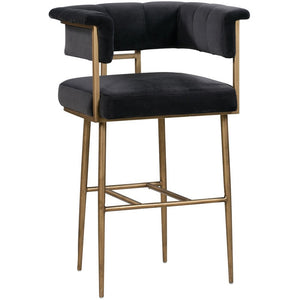 TOV Furniture Modern Astrid Grey Velvet Bar Stool TOV-D44027