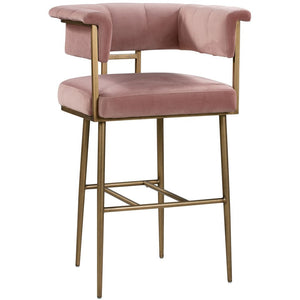 TOV Furniture Modern Astrid Blush Pink Velvet Bar Stool TOV-D44028