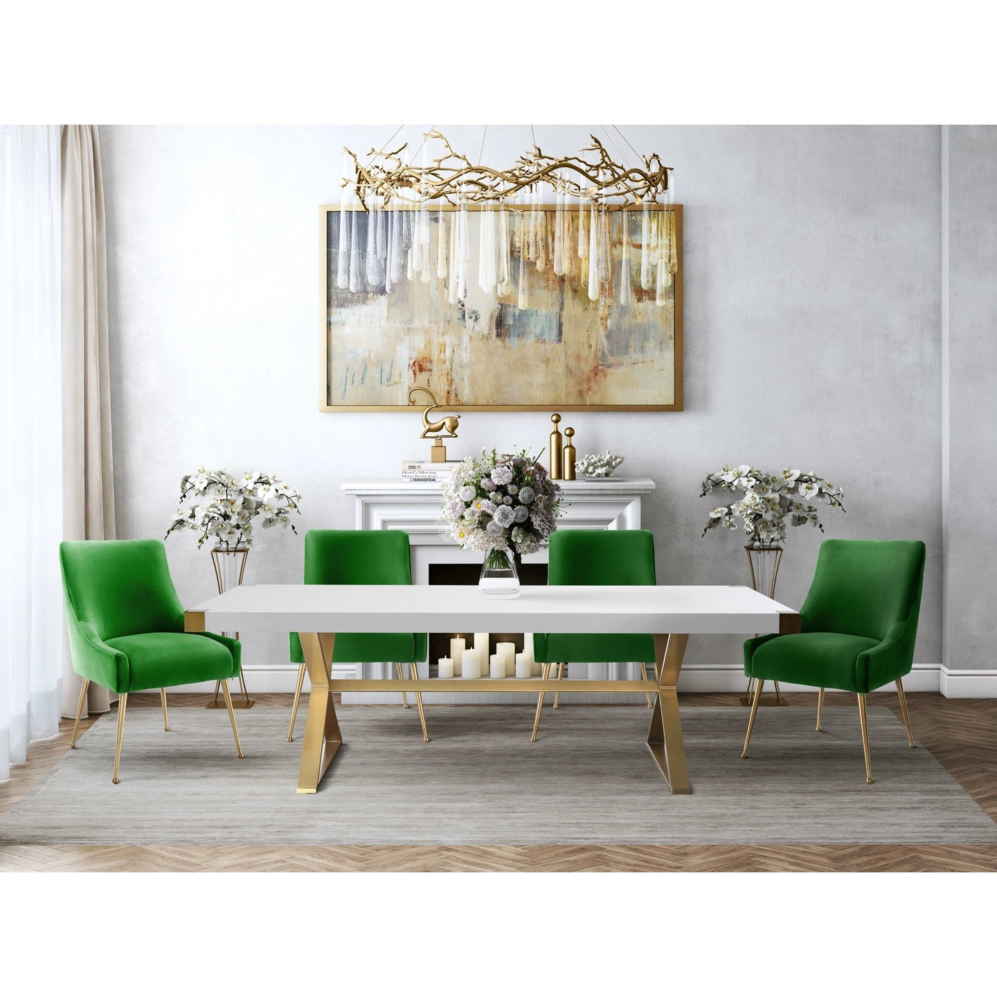 TOV Furniture Modern Adeline White & Gold Rectangular Dining Table & 4 Green Beatrix Chairs-Minimal & Modern