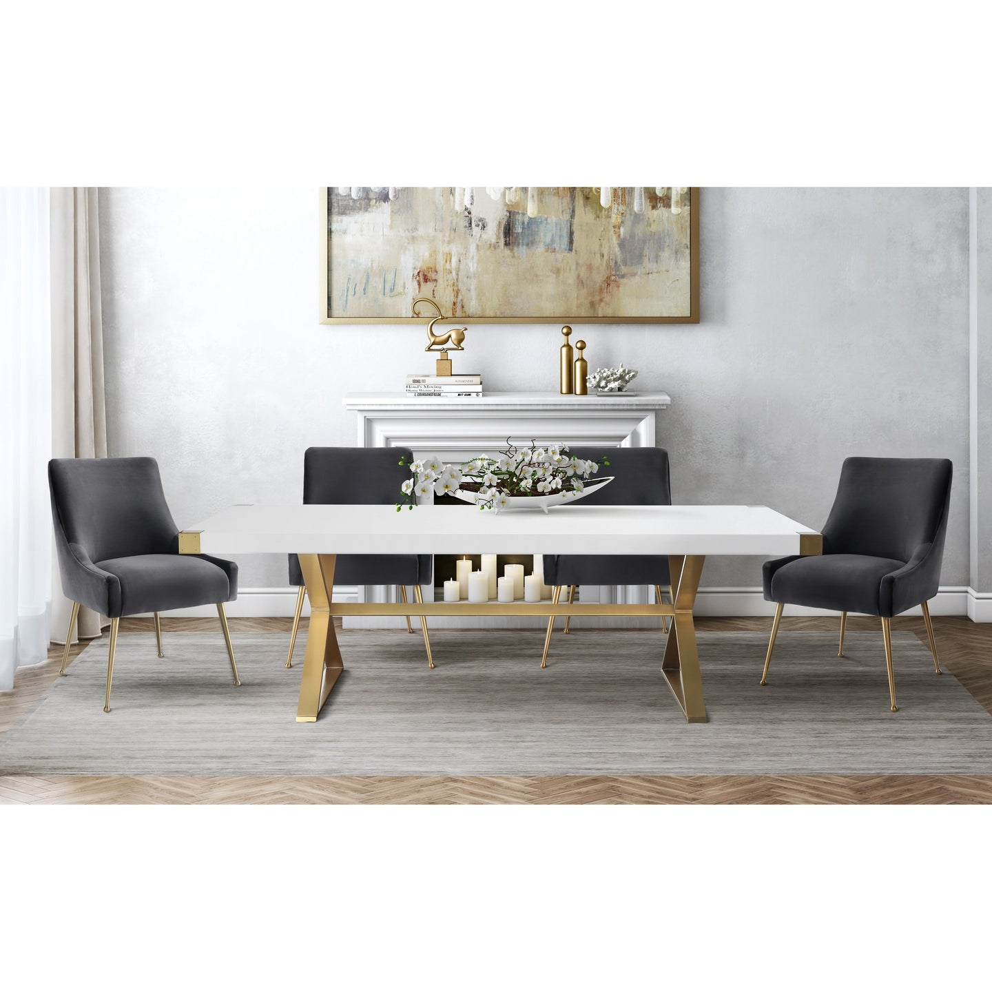 TOV Furniture Modern Adeline White & Gold Rectangular Dining Table & 4 Grey Beatrix Chairs-Minimal & Modern
