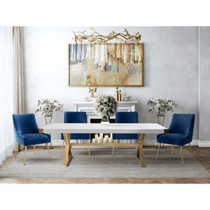 TOV Furniture Modern Adeline White & Gold Rectangular Dining Table & 4 Navy Beatrix Chairs-Minimal & Modern
