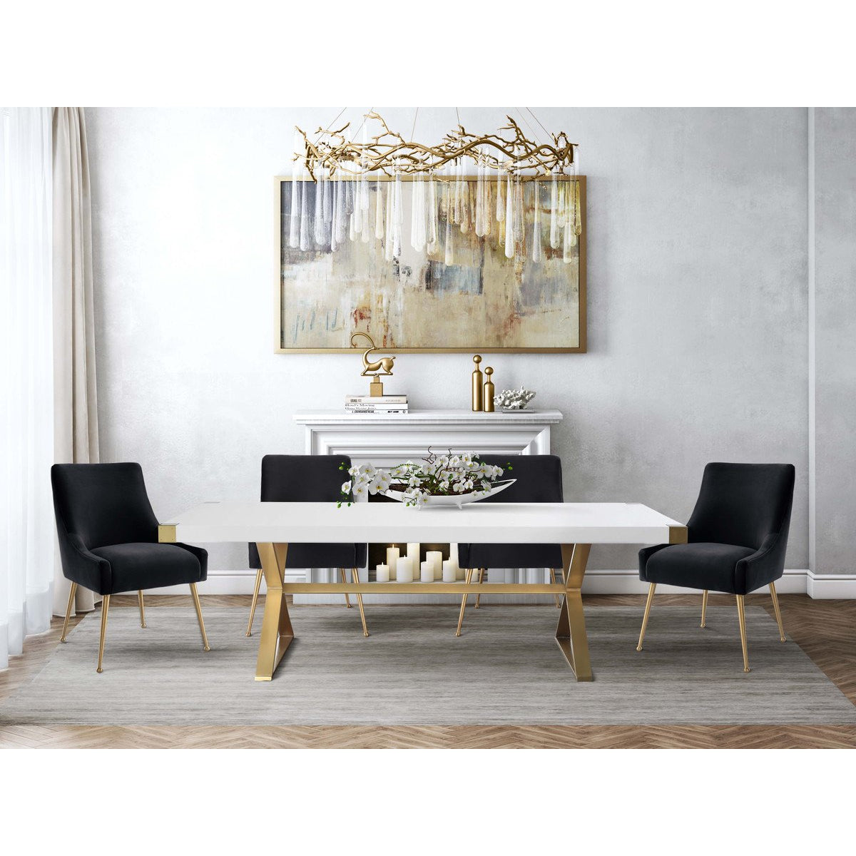 Miraculous Tov Furniture Modern Adeline White Gold Rectangular Dining Caraccident5 Cool Chair Designs And Ideas Caraccident5Info