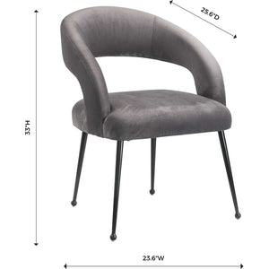 TOV Furniture Modern Rocco Grey Velvet Dining Chair TOV-D6186-Minimal & Modern