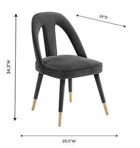 TOV Furniture Modern Petra Dark Grey Velvet Side Chair - TOV-D6365