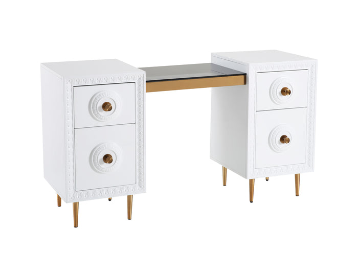 TOV Furniture Modern Bovey White Lacquer Desk - TOV Furniture, Minimal & Modern - 1