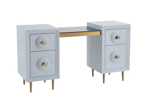 TOV Furniture Modern Bovey Light Grey Lacquer Desk - TOV Furniture, Minimal & Modern - 1