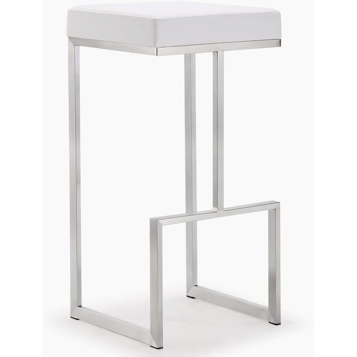 TOV Furniture Modern Ferrara White Steel Barstool - Set of 2 - TOV-K3602-Minimal & Modern