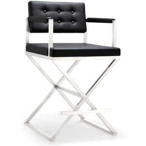 TOV Furniture Modern Director Black Steel Counter Stool TOV-K3623-Minimal & Modern