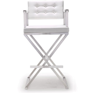 TOV Furniture Modern Director White Steel Barstool TOV-K3626-Minimal & Modern
