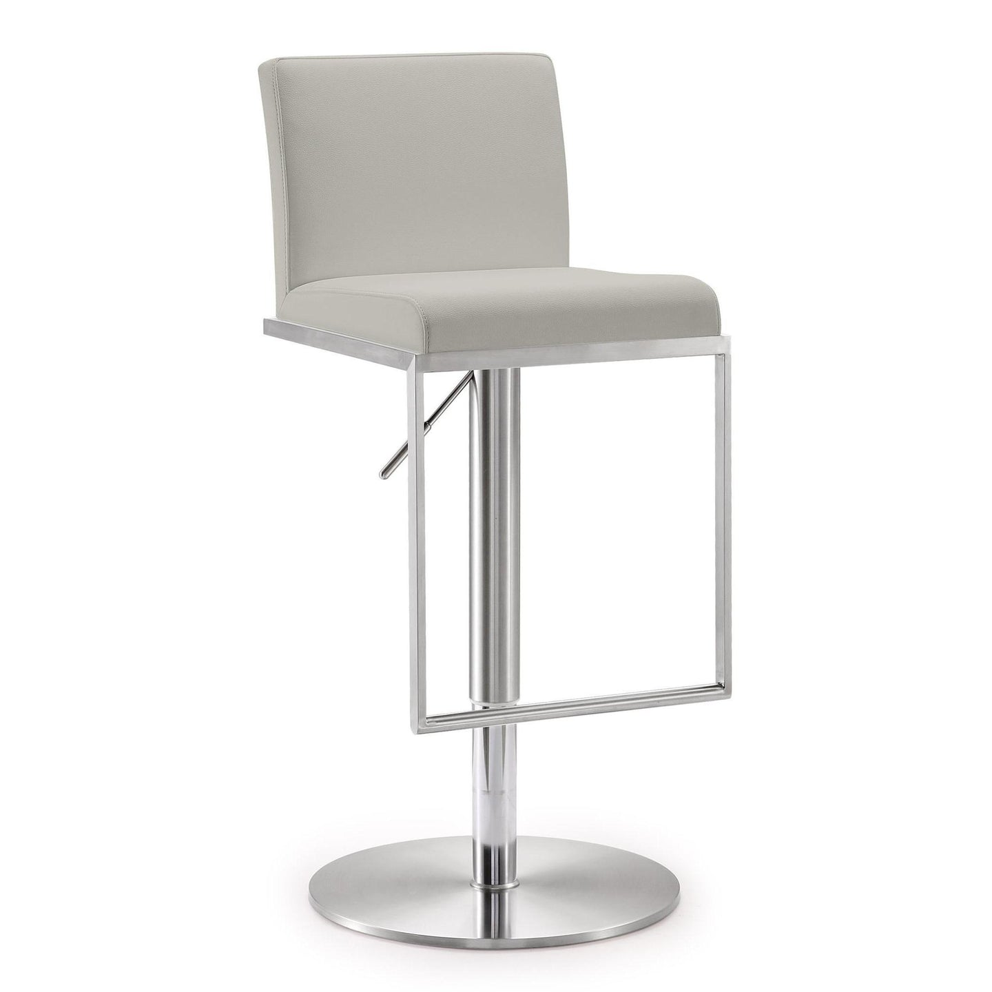 TOV Furniture Modern Amalfi Light Grey Steel Adjustable Barstool - TOV-K3654-Minimal & Modern