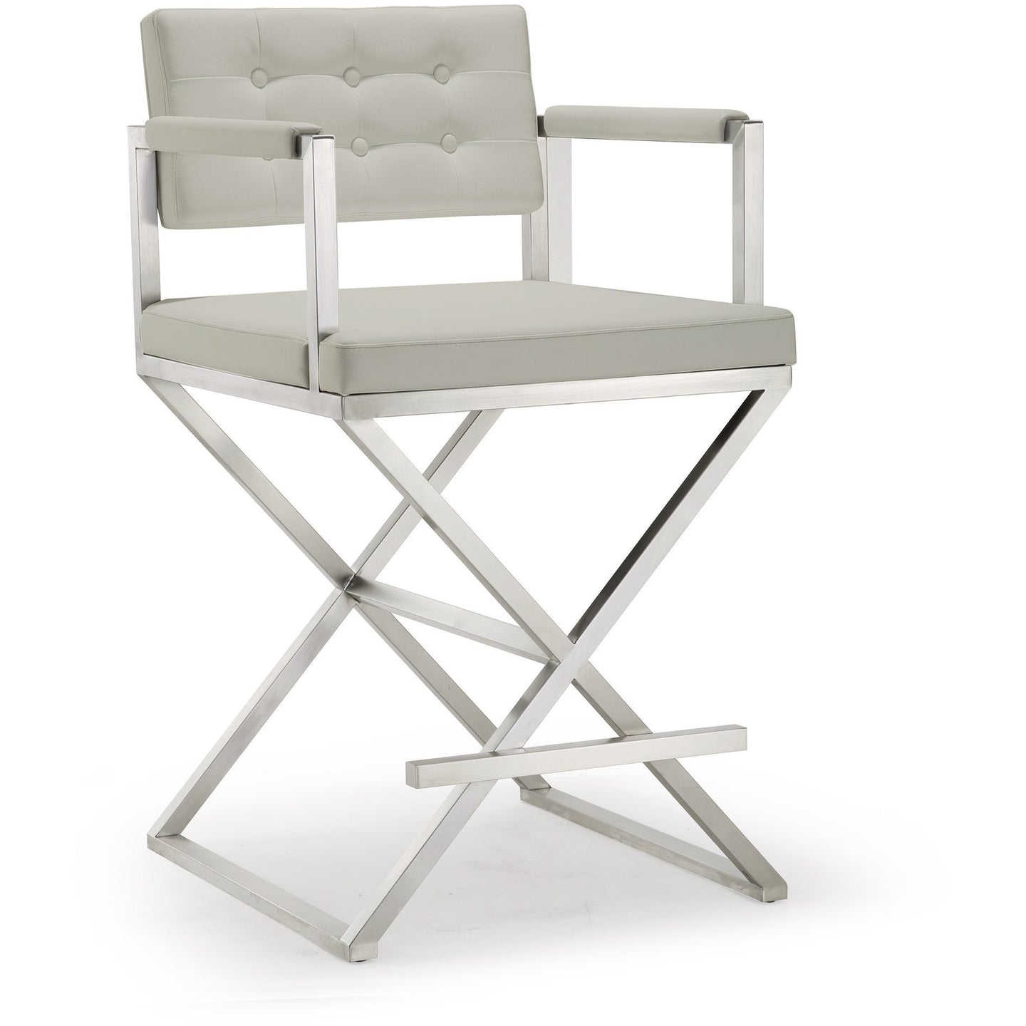 TOV Furniture Modern Director Light Grey Steel Counter Stool TOV-K3657-Minimal & Modern