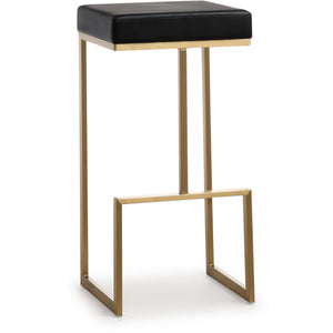 TOV Furniture Modern Ferrara Black Gold Steel Barstool - TOV-K3663 (Set of 2)-Minimal & Modern