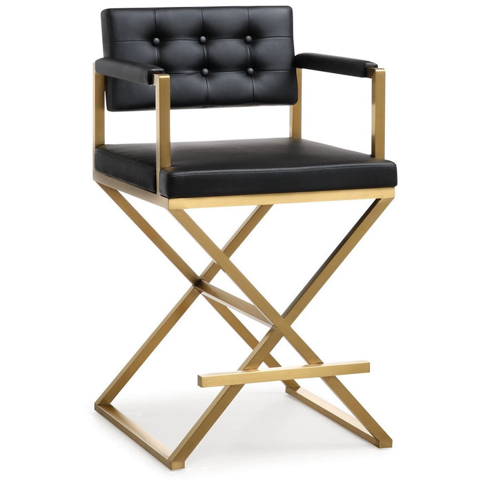 TOV Furniture Modern Director Black Gold Steel Counter Stool - TOV-K3667-Minimal & Modern