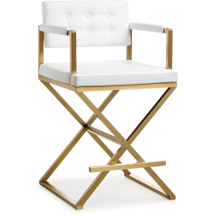 TOV Furniture Modern Director White Gold Steel Counter Stool - TOV-K3668-Minimal & Modern