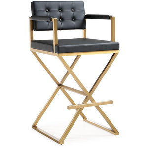 TOV Furniture Modern Director Black Gold Steel Barstool - TOV-K3669-Minimal & Modern