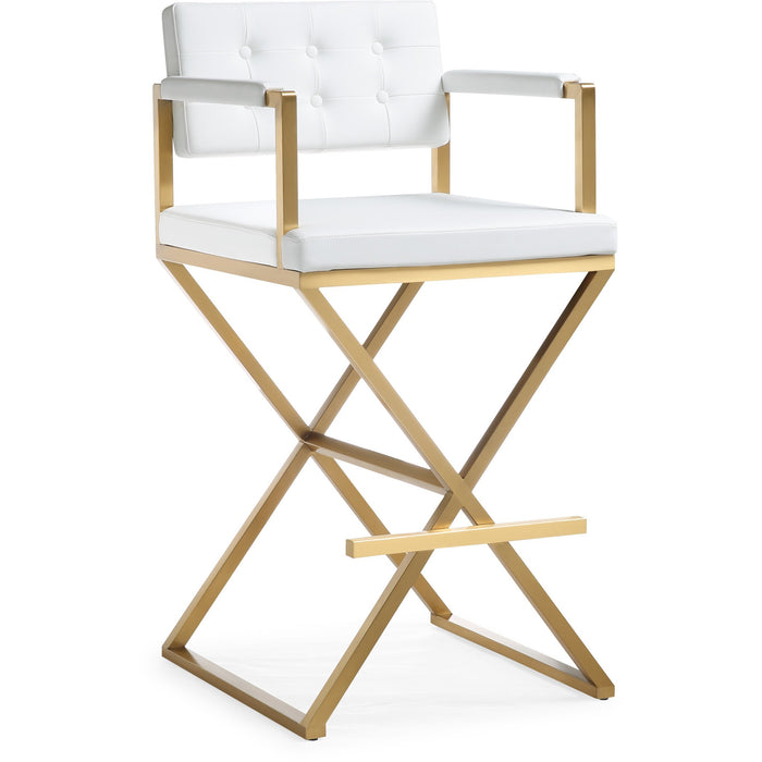 TOV Furniture Modern Director White Gold Steel Barstool - TOV-K3670-Minimal & Modern