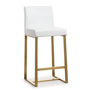 TOV Furniture Modern Denmark White Gold Steel Counter Stool - TOV-K3672 (Set of 2)-Minimal & Modern