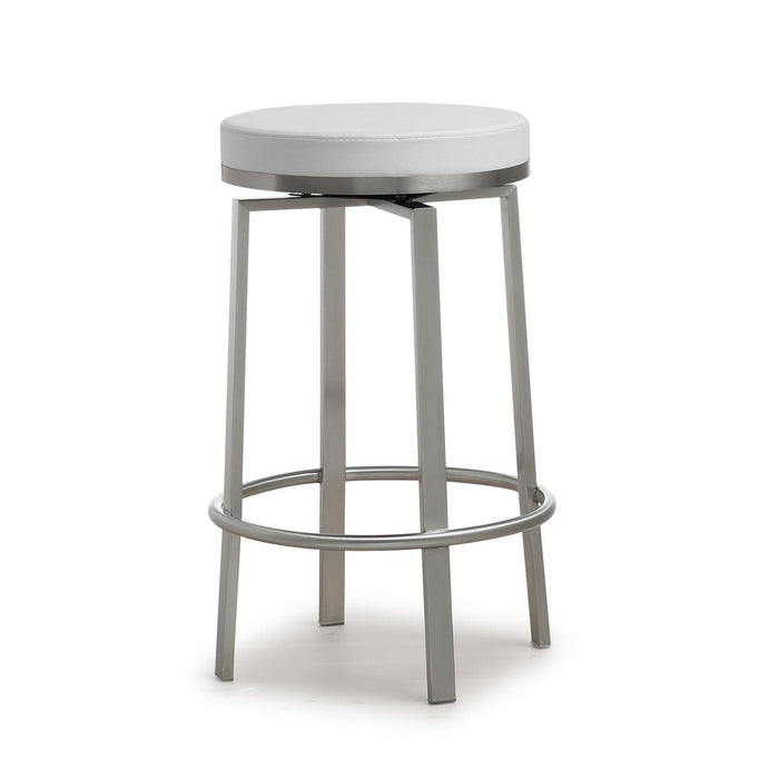 TOV Furniture Modern Pratt White Steel Counter Stool - Set of 2 - TOV-K3676-Minimal & Modern