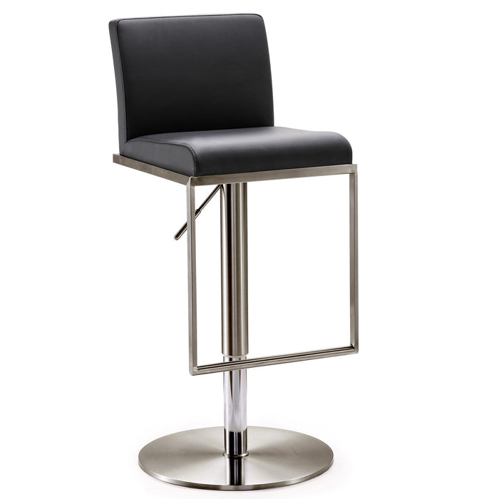 TOV Furniture Modern Amalfi Black on Black Steel Barstool - TOV Furniture, Minimal & Modern - 1