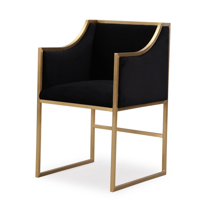 TOV Furniture Modern Atara Black Velvet Gold Chair - TOV-L6121-Minimal & Modern